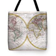 1780 Raynal And Bonne Map Of The Two Hemispheres Tote Bag