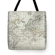 1784 Vaugondy Map Of The World On Mercator Projection Tote Bag