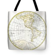 1785 Clouet Map Of North America And South America Tote Bag