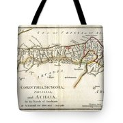 1786 Bocage Map Of Corinthia Sicyonia And Achaia In Ancient Greece Tote Bag