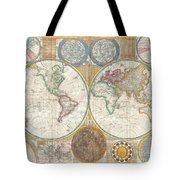 1794 Samuel Dunn Wall Map Of The World In Hemispheres Tote Bag by Paul Fearn
