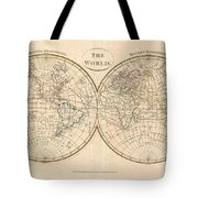 1799 Cruttwell Map Of The World In Hemispheres Tote Bag