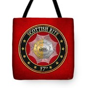 17th Degree - Knight Of The East And West Jewel On Red Leather Tote Bag