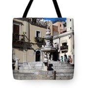 Another View Of An Old Unused Fountain In Taormina Sicily Tote Bag