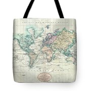 1801 Cary Map Of The World On Mercator Projection Tote Bag