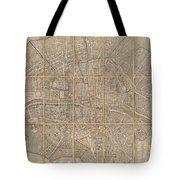 1802 Chez Jean Map Of Paris In 12 Municipalities France Tote Bag