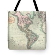 1806 Cary Map Of The Western Hemisphere  North America And South America Tote Bag