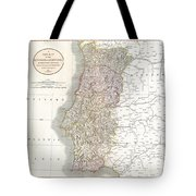 1811 Cary Map Of The Kingdom Of Portugal Tote Bag