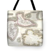 1815 Thomson Map Of Guadaloupe Antigua Marie Galante  West Indies Tote Bag