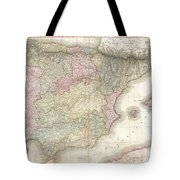 1818 Pinkerton Map Of Spain And Portugal Tote Bag