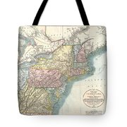 1821 Cary Map Of New England New York Pennsylvania And Virginia Tote Bag