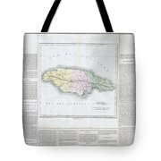 1825 Carez Map Of Jamaica  Tote Bag
