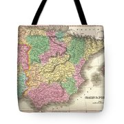 1827 Finely Map Of Spain And Portugal Tote Bag