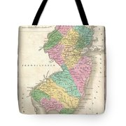 1827 Finley Map Of New Jersey  Tote Bag