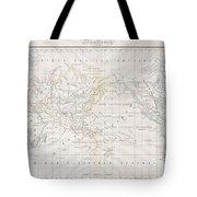 1832 Malte Brun Map Of The World On Mercator Projection Tote Bag
