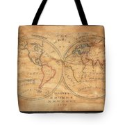 1833 School Girl Manuscript Wall Map Of The World On Hemisphere Projection  Tote Bag
