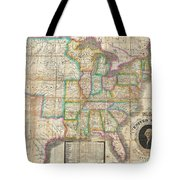 1835 Webster Map Of The United States Tote Bag