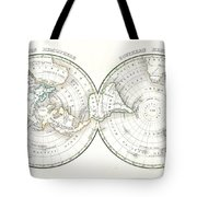 1838 Bradford Map Of The World On Polar Projection Tote Bag