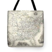 1851 Tallis And Rapkin Map Of The United States Tote Bag