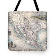 1851 Tallis Map Of Mexico Texas And California  Tote Bag