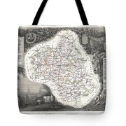 1852 Levasseur Map Of The Department L Aveyron France Roquefort Cheese Region Tote Bag