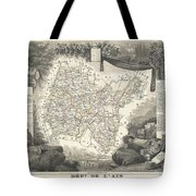 1852 Levasseur Map Of The Department L'ain France Bugey Wine Region Tote Bag