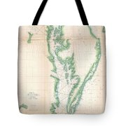 1852 Us. Coast Survey Chart Or Map Of The Chesapeake Bay And Delaware Bay Tote Bag