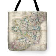 1853 Wyld Pocket Or Case Map Of Ireland Tote Bag