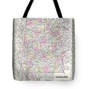 1855 Colton Map Of Alabama Tote Bag