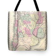 1855 Colton Map Of Argentina Chile Paraguay And Uruguay Tote Bag