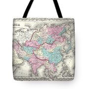 1855 Colton Map Of Asia Tote Bag