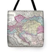 1855 Colton Map Of Austria Hungary And The Czech Republic Tote Bag