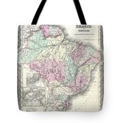 1855 Colton Map Of Brazil And Guyana Tote Bag