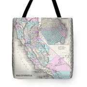 1855 Colton Map Of California And San Francisco Tote Bag