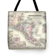 1855 Colton Map Of Central America And Jamaica Tote Bag