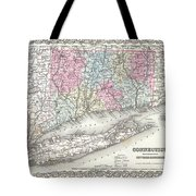 1855 Colton Map Of Connecticut And Long Island Tote Bag