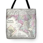1855 Colton Map Of Delaware Maryland And Washington Dc Tote Bag