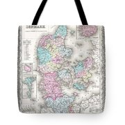 1855 Colton Map Of Denmark Tote Bag