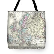 1855 Colton Map Of Europe Tote Bag