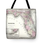 1855 Colton Map Of Florida Tote Bag