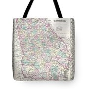 1855 Colton Map Of Georgia Tote Bag