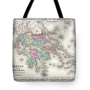 1855 Colton Map Of Greece  Tote Bag