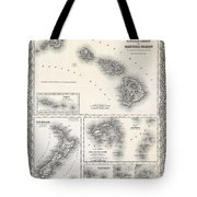 1855 Colton Map Of Hawaii And New Zealand Tote Bag
