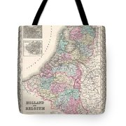 1855 Colton Map Of Holland And Belgium Tote Bag