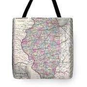 1855 Colton Map Of Illinois Tote Bag