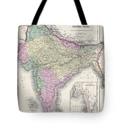 1855 Colton Map Of India Or Hindostan Tote Bag
