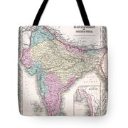 1855 Colton Map Of India Tote Bag