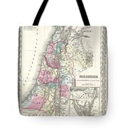 1855 Colton Map Of Israel Palestine Or The Holy Land Tote Bag