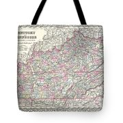 1855 Colton Map Of Kentucky And Tennessee Tote Bag