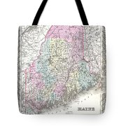 1855 Colton Map Of Maine Tote Bag